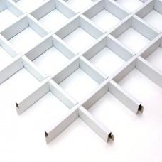 Потолок грильято Cesal Эконом белый 50х50х40 мм