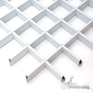 Потолок грильято Cesal Стандарт белый 100х100х40 мм