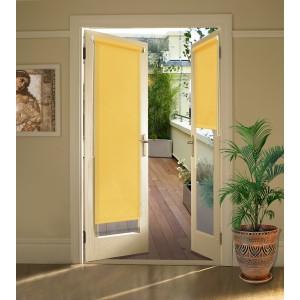 Миниролло на балконную дверь светло-жёлтые